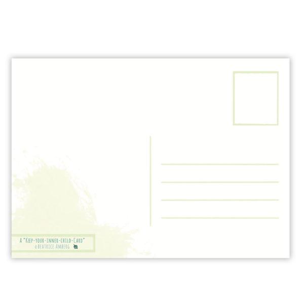Rückseite Postkarte Seele baumeln