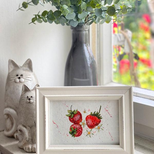 Erdbeer-Aquarell