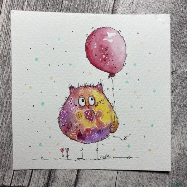 Eule mit Luftballon